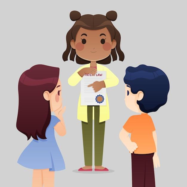 Girl Holding Caricature De Droit Des Brevets Vecteur gratuit