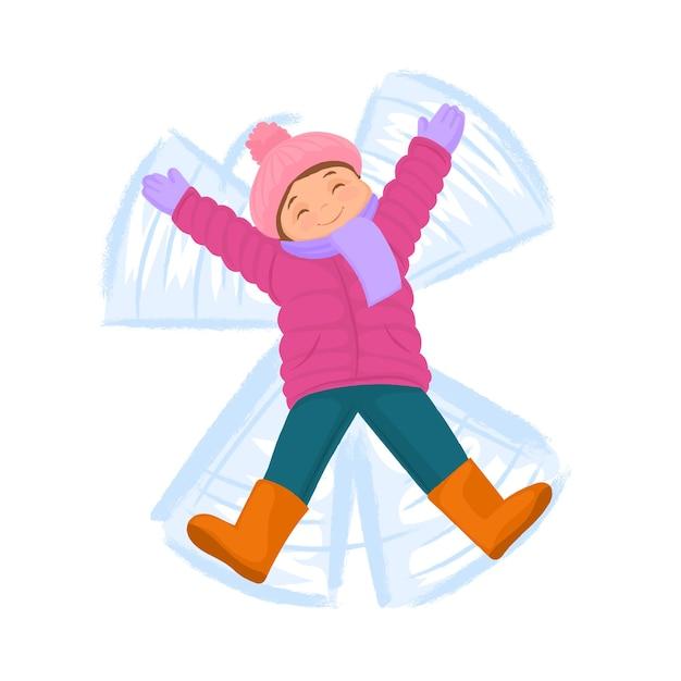 Girl Making Snow Angel Répandre Les Bras Vecteur Premium