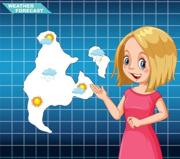 Girl news meteo Vecteur gratuit