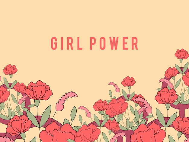Girl power sur le vecteur fond floral Vecteur gratuit