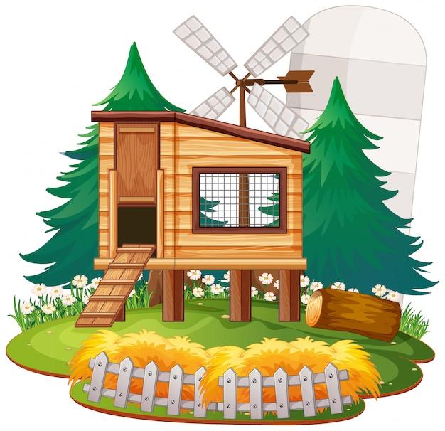 Gîte rural en pleine nature Vecteur gratuit