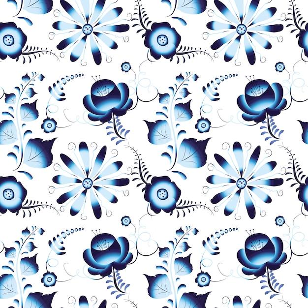 Gjel russe sur un motif transparent blanc Vecteur Premium