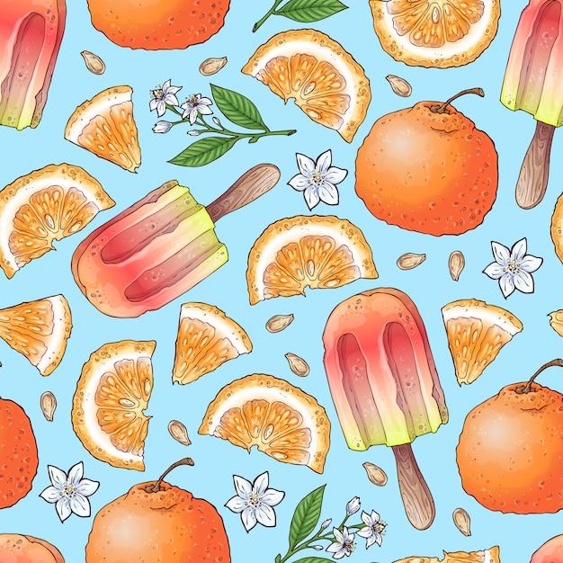 Glace aux agrumes et citron colorés Vecteur Premium