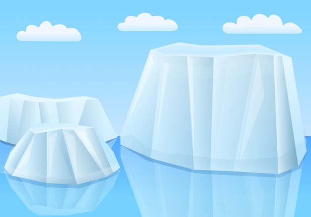 Glaciers De Dessin Animé Dans La Mer, Illustration Vectorielle Vecteur Premium