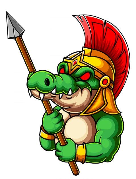 Gladiateur Crocodile Avec Lance Vecteur Premium