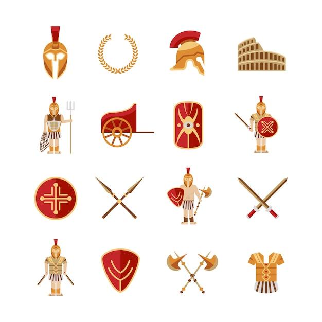 Gladiator icons set Vecteur Premium