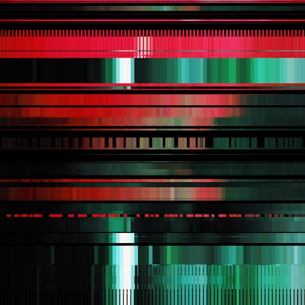 Glitch Abstrait Avec Effet De Distorsion Bug Erreur Lignes De Couleur Aleatoires Horizontales Rouges Et Vertes Vecteur Premium