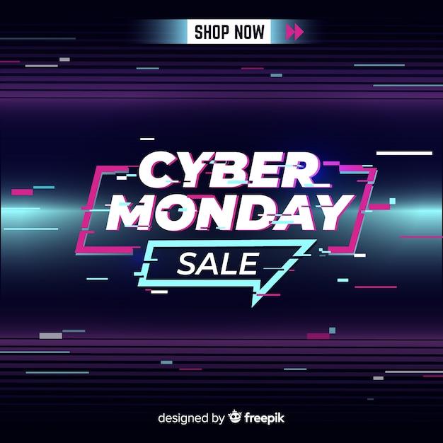 Glitch cyber lundi avec lignes de mouvement Vecteur gratuit