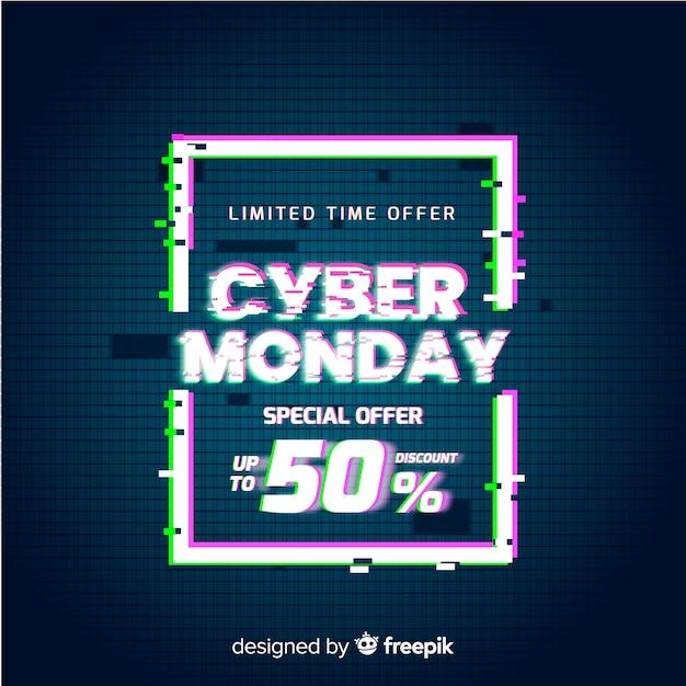 Glitch cyber lundi offre spéciale bannière Vecteur gratuit
