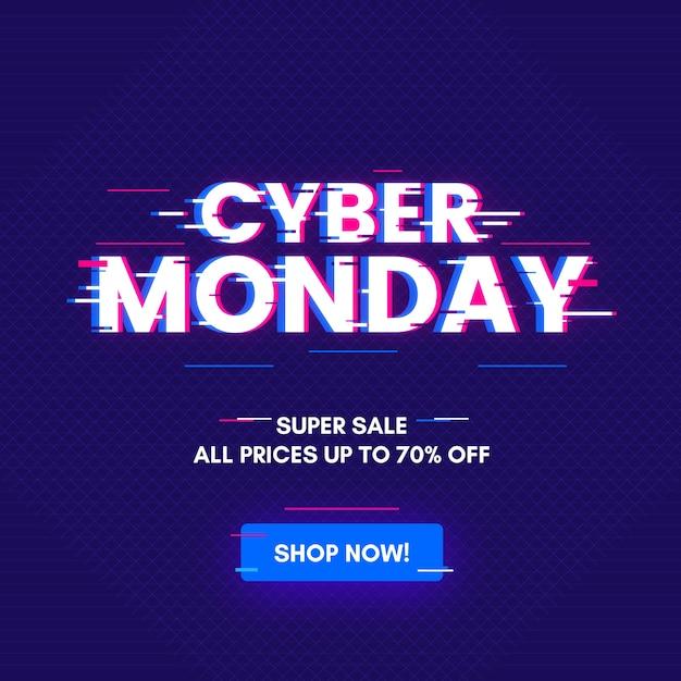 Glitch cyber lundi Vecteur gratuit