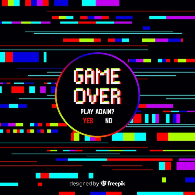 Glitch jeu sur fond Vecteur gratuit