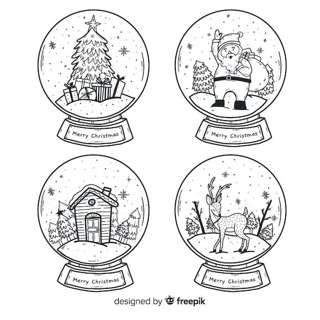 Globe Boule De Neige De Noël Dessiné à La Main Vecteur gratuit