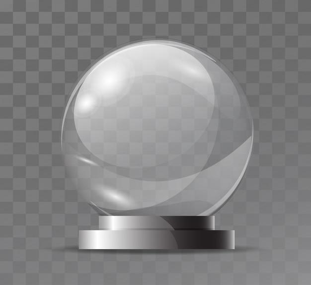Globe En Cristal Transparent En Verre. Attribut Magique. Sphère De Verre Vide. Stand Pour Un Souvenir, Un Trophée. Vecteur Premium