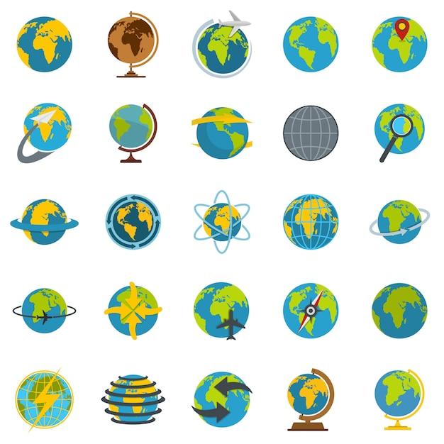 Globe earth set d'icônes Vecteur Premium