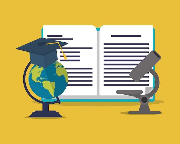Globe de l'éducation et de la terre avec l'académie connexes image d'icônes Vecteur Premium