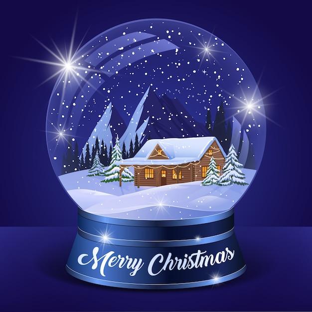 Globe d'hiver paysage de noël Vecteur gratuit