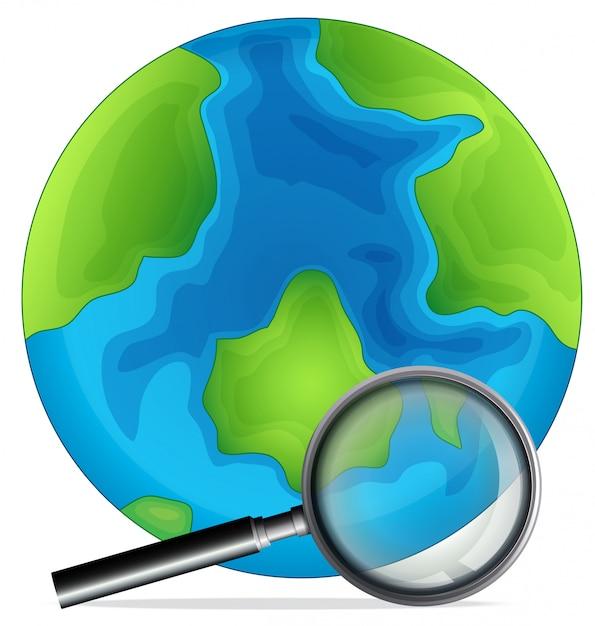 Un globe et une loupe Vecteur gratuit