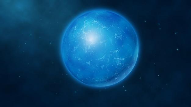 Globe numérique futuriste bleu abstrait sur un fond d'espace Vecteur Premium