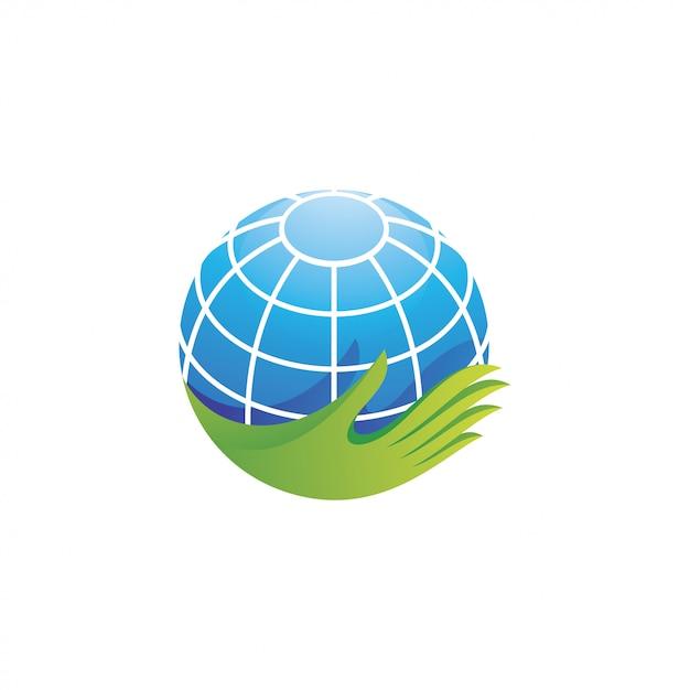 Globe Terrestre Planète Et Logo De La Main Vecteur Premium