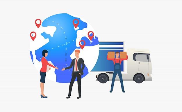 Globe terrestre avec pointeurs, livreurs et hommes d'affaires Vecteur gratuit