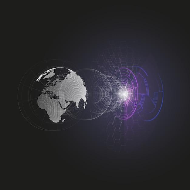 Globe terrestre pointillé Vecteur Premium