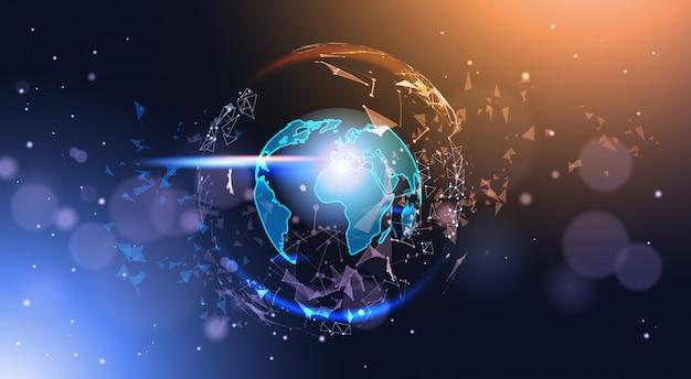 Globe terrestre polygonale sur fond de bokeh carte du monde géométrique low poly rougeoyant Vecteur Premium