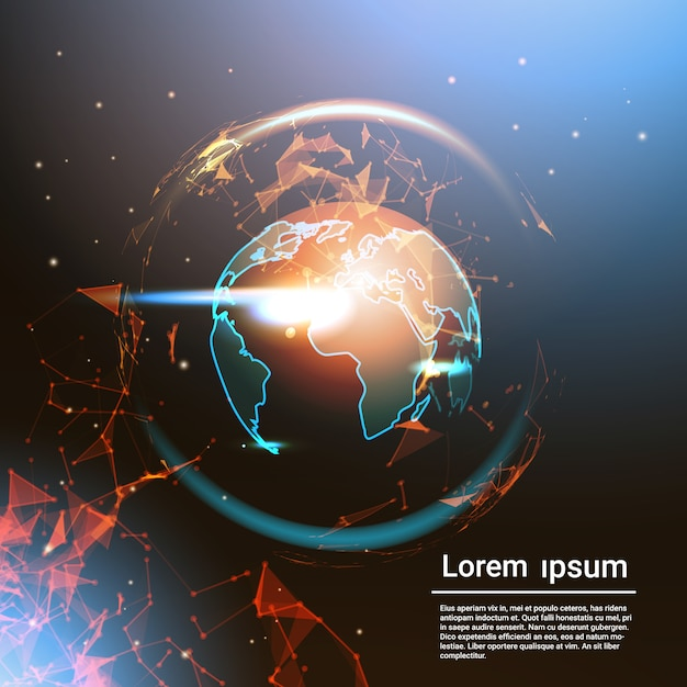 Globe terrestre polygonale rougeoyant sur fond de modèle carte du monde géométrique low poly Vecteur Premium