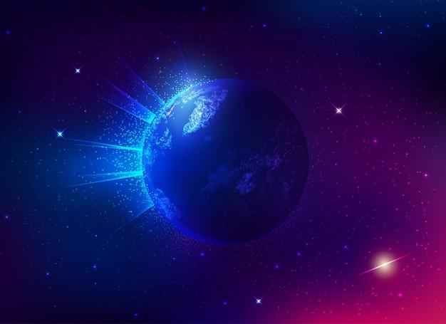 Globe terrestre vif et galaxie spatiale Vecteur Premium