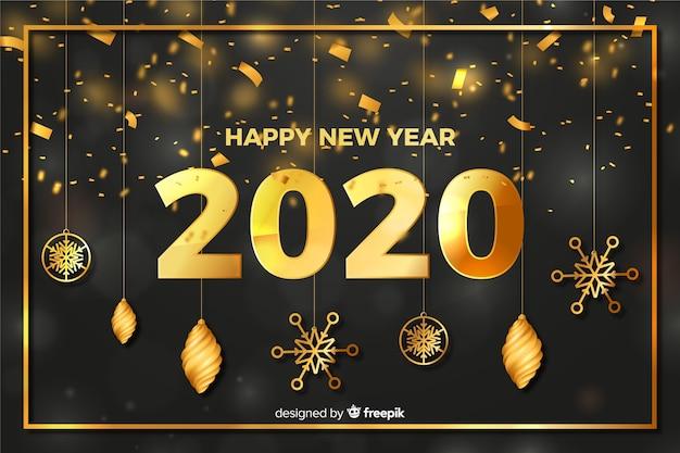 Globes et étoiles du nouvel an 2020 Vecteur gratuit