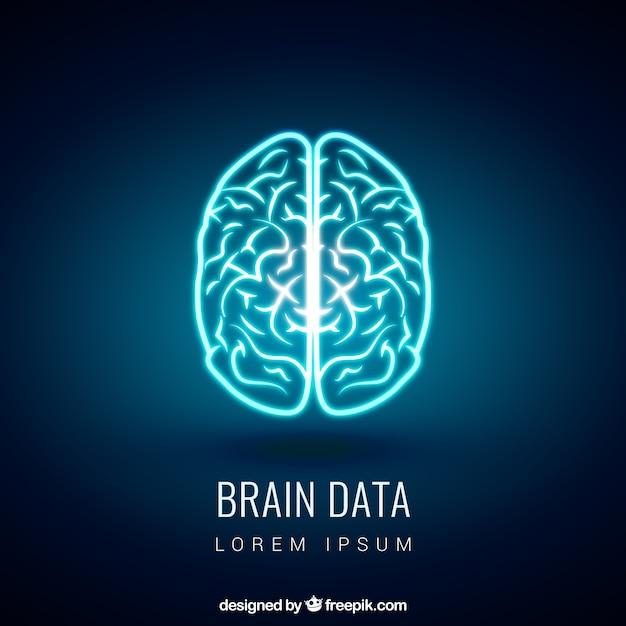 Glowing Cerveau Vecteur gratuit