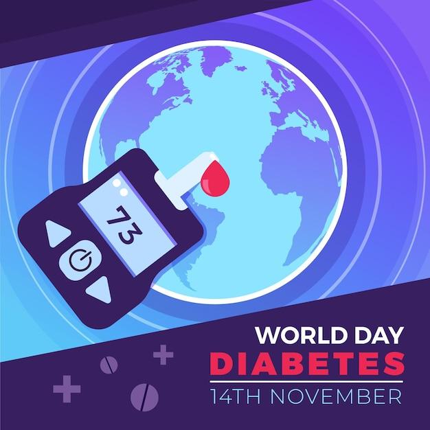 Glucomètre De La Journée Mondiale Du Diabète Design Plat Et Goutte De Sang Vecteur gratuit