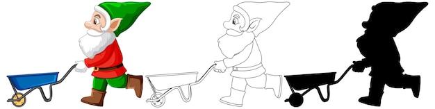 Gnome En Costume De Père Noël En Couleur Et Contour Et Silhouette En Personnage De Dessin Animé Sur Fond Blanc Vecteur gratuit