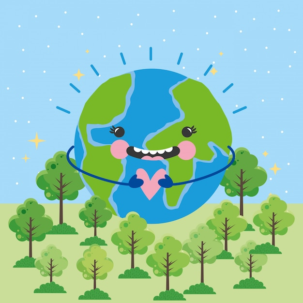 Go green earth day Vecteur Premium