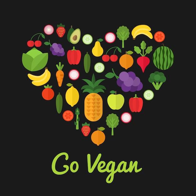 Go Vegan Concept D'aliments Sains Vecteur Premium
