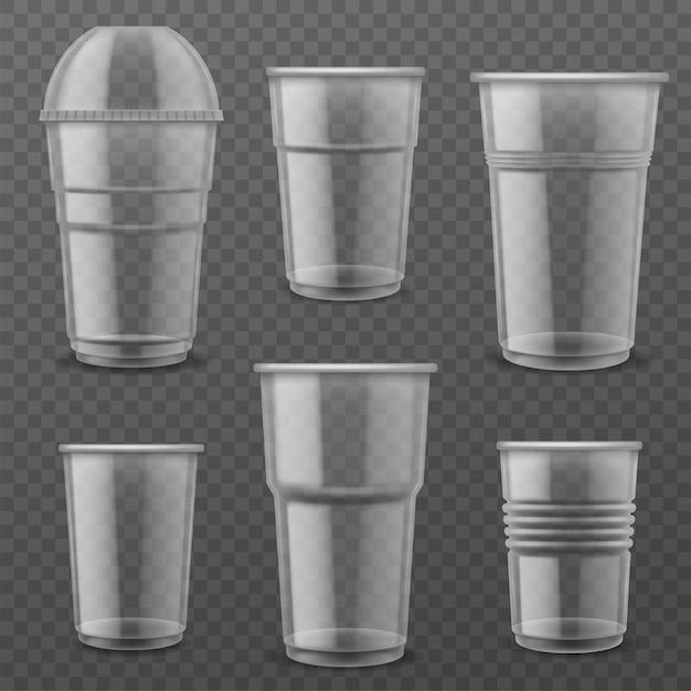 Gobelets Jetables En Plastique Transparent. Vecteur Premium