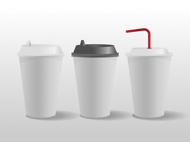 Gobelets en papier blanc, tasse à café. Vecteur Premium