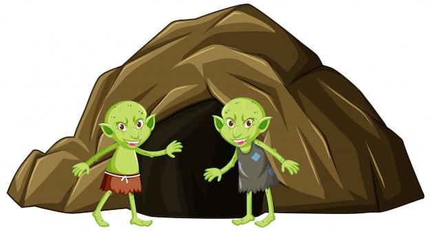 Gobelins Avec Grotte En Personnage De Dessin Animé Sur Fond Blanc Vecteur gratuit