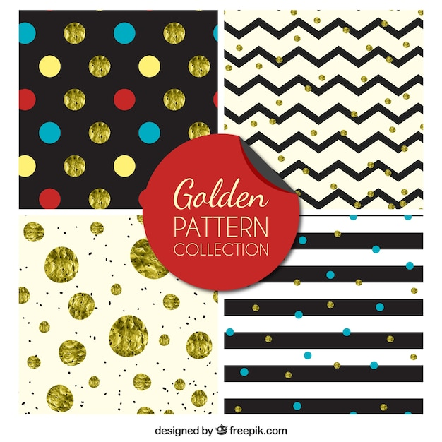 Golden collection pattern Vecteur gratuit