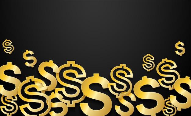 Golden dollars sign sur fond noir. Vecteur Premium