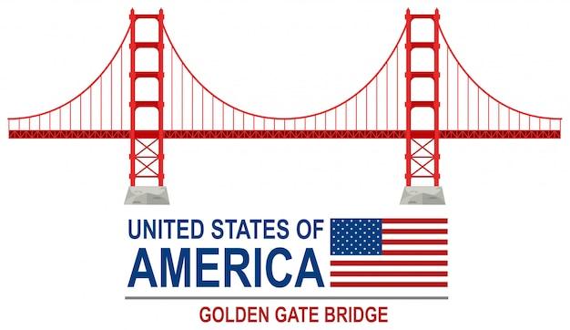Golden Gate Bridge Amérique Vecteur Premium