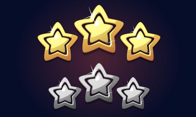Golden icon trois étoiles cote isolé Vecteur Premium