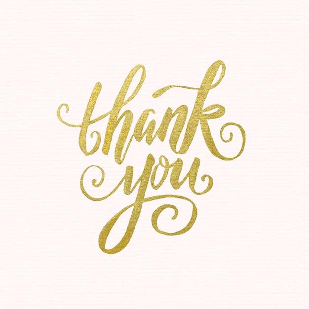 Golden lettrage de remerciement Vecteur Premium