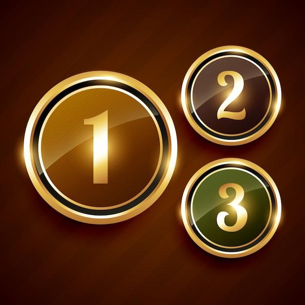 Golden numéro un deux trois prime étiquette Vecteur Premium