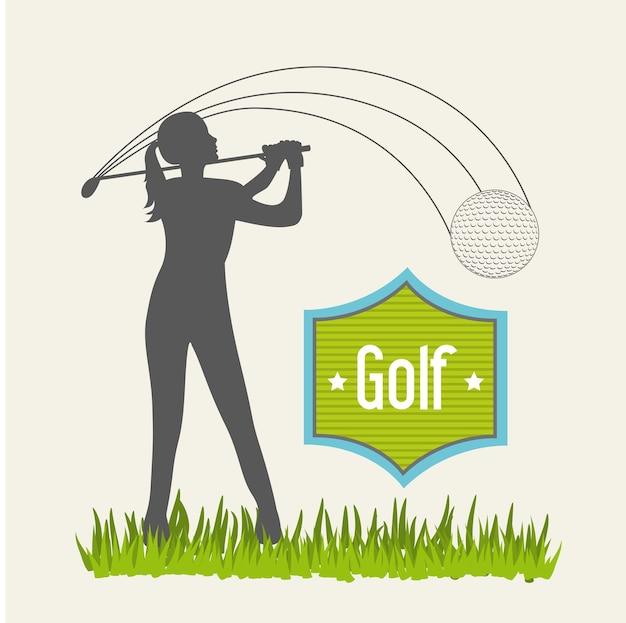 Golfeur femme sur fond beige golf illustration vectorielle Vecteur Premium