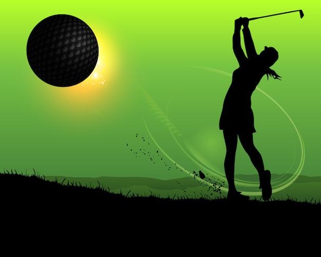Golfeur silhouette femme au coucher du soleil Vecteur Premium