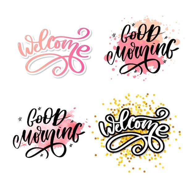 Good morning lettrage texte slogan calligraphie noir Vecteur Premium