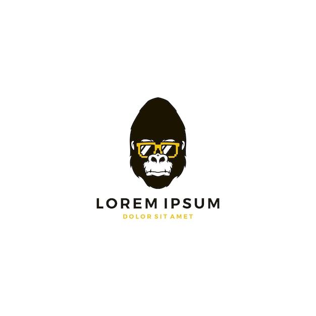 Gorilla Geek Lunettes De Soleil Logo Vecteur Premium