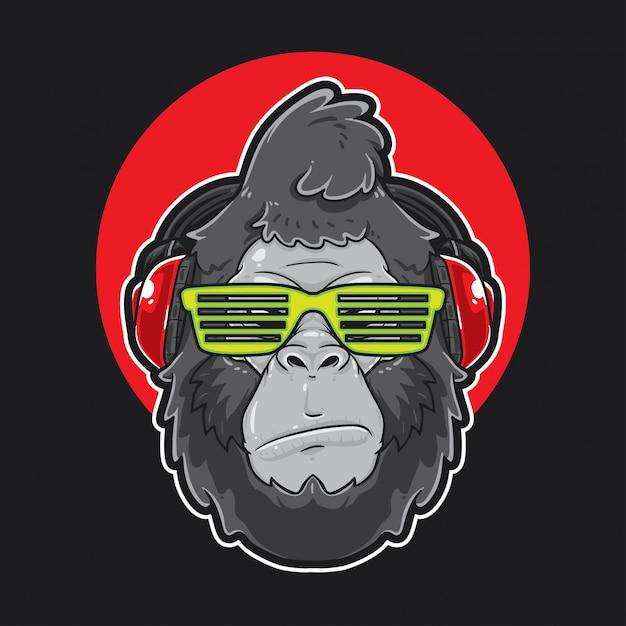Gorilla head musique Vecteur Premium
