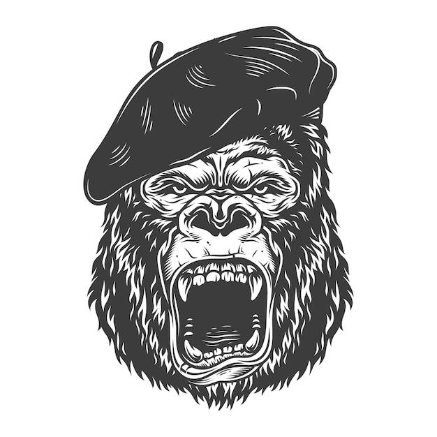 Gorille En Colère Dans Le Style Monochrome Vecteur gratuit