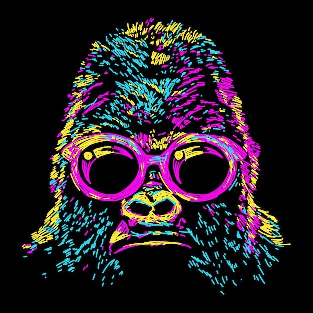 Gorille coloré abstrait avec des lunettes Vecteur Premium